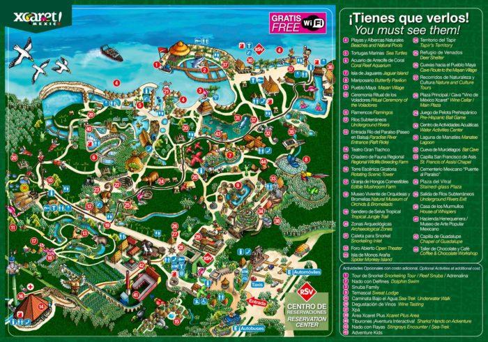 Карта парка Xcaret